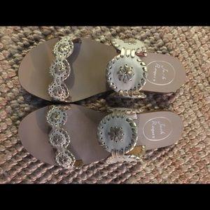 Jack Rogers Lauren Sandals Size 6 in Bone/Gold